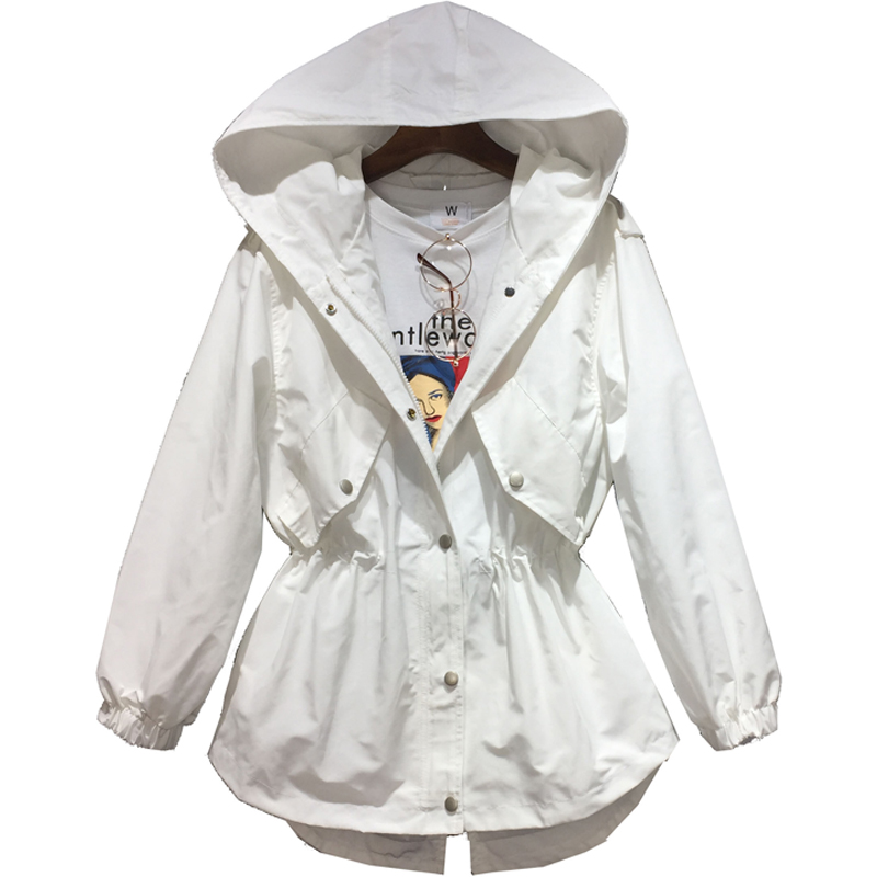 2019 Spring and Autumn new Korean version of the loose short waist students Hooded Drawstrome Windbreaker