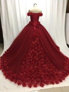 Image 3 - ILUSY Gorgeous 3D flora สีแดงชุดแต่งงานชุดนอนชุดลูกปัด Sweetheart Gowns เจ้าสาว Vestidos de noiva