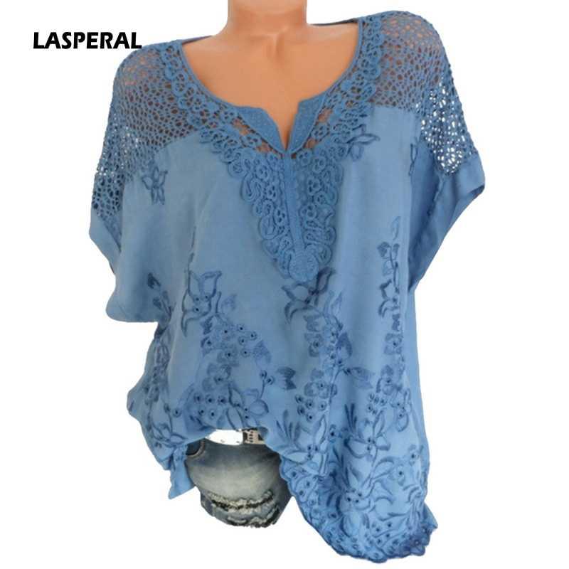 LASPERAL 2019 Для женщин кружева лоскутное блузка шифоновая рубашка Повседневное Топы Sexy короткий рукав блузка женская летняя блузка с вырезом Топ