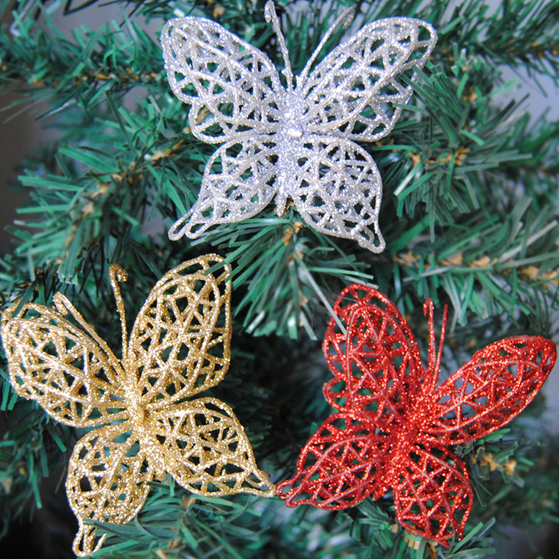 6pcs Christmas Colorful Butterfly Christmas Tree Ornaments ...