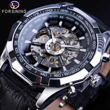 Forsining Male Mechanical Watches Hollow Black Genuine Leather Wristwatch Glow Hands Racing Mens Students Hand Wind Watch Clock