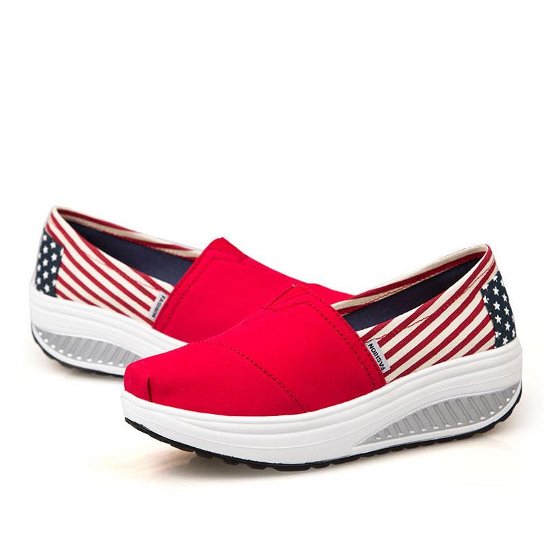Prix pour HOT Summer Chaussures Femmes de Sport pour les Femmes Battantes Compensées plate-forme zapatos mujer toile formateurs tenis feminino Chaussures Tonifiantes
