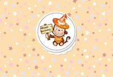 Laeacco Cartoon Monkey Stars Happy Birthday Baby Party Photographic Backgrounds Custom Photography Backdrops For Photo Studio