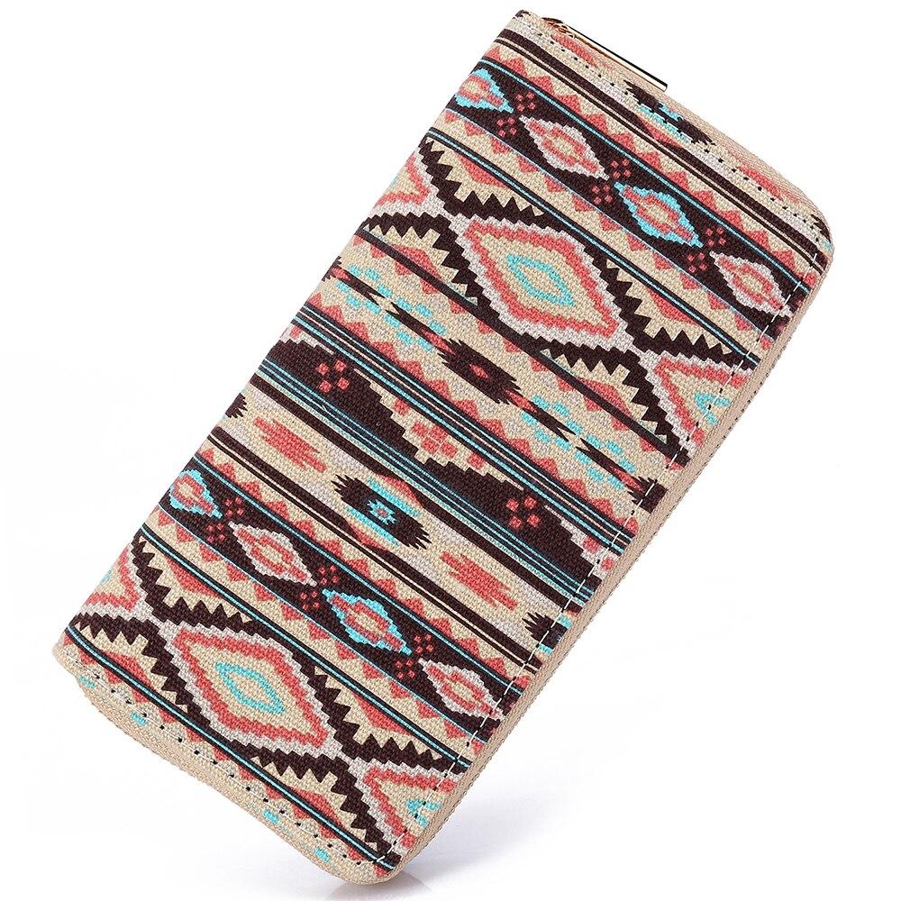 где купить Sansarya 2018 Boho Striped Printing Canvas Long Women Wallet Ladies Card Holder Tribal Female Purse Bag With Cupreous Zipper по лучшей цене