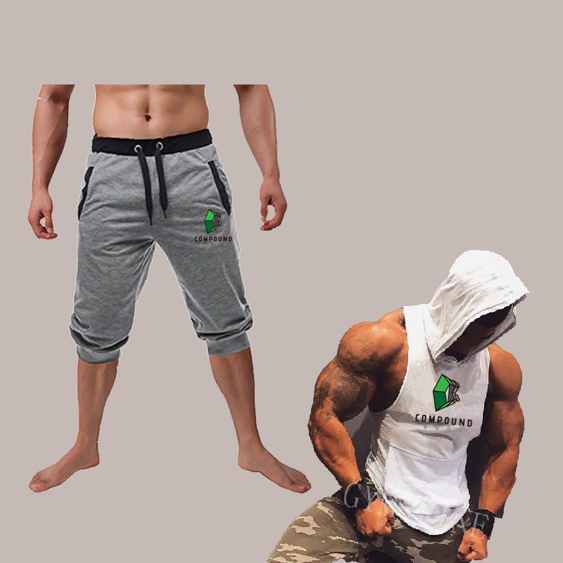6af44709c8bdd9 New Fashion Summer Leisure Men Knee Length Shorts+Hooded vest suit Summer  Hot Sale Cotton Casual Men Short Pants Brand Clothing