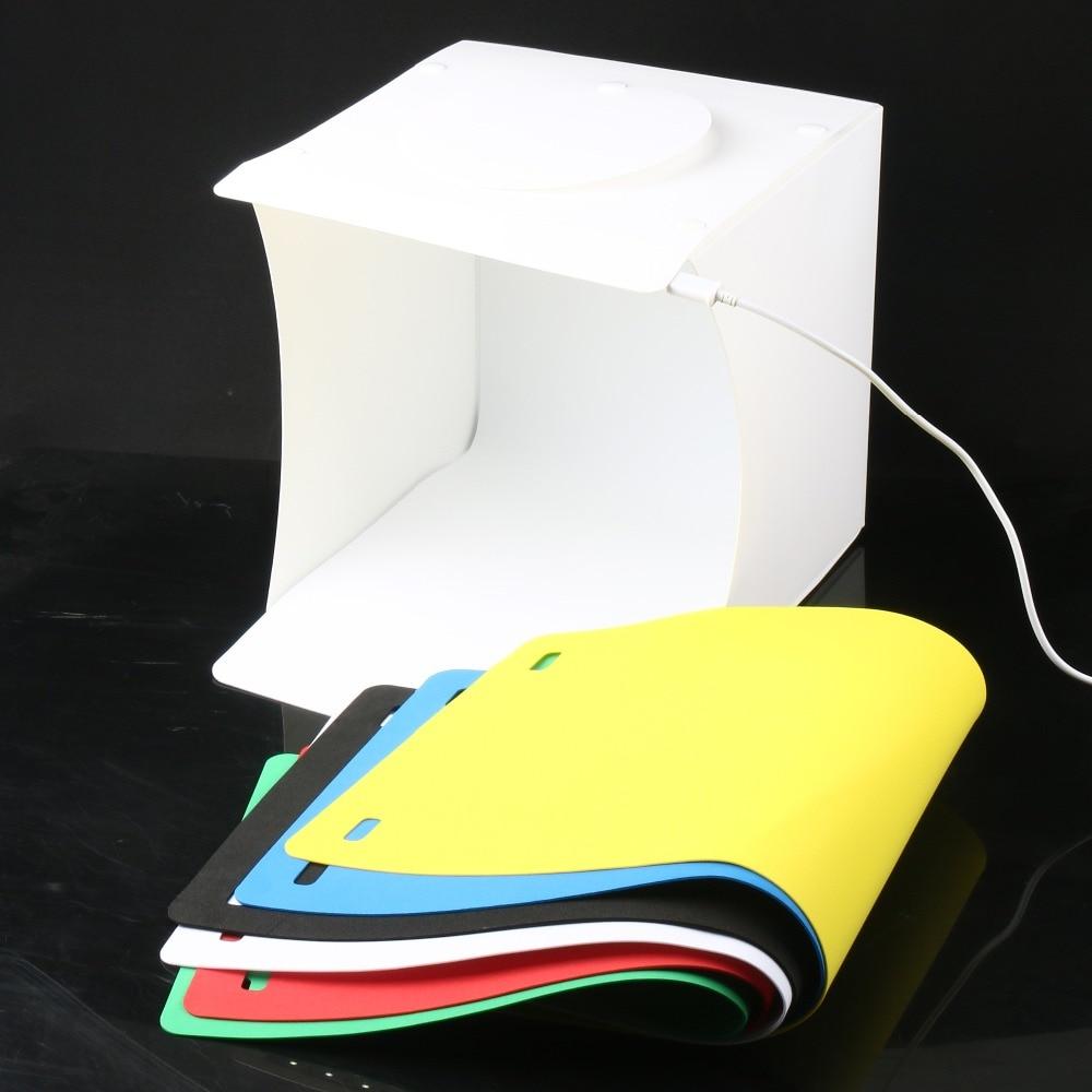 Mini 8 portable folding portátil dobrável usb led estúdio de fotografia softbox luz tenda lightbox com fundos para câmera de smartphone dslr foto