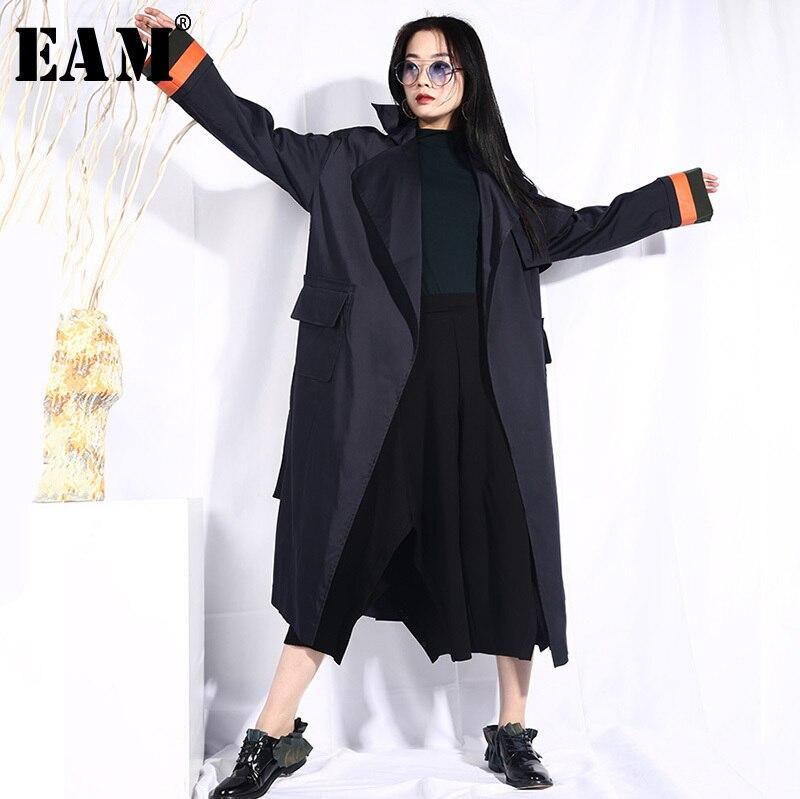 [EAM] 2019 New Spring Lapel Long Sleeve Dark Blue Hit Color Split Joint Loose Big Size Windbreaker Women   Trench   Fashion JO568