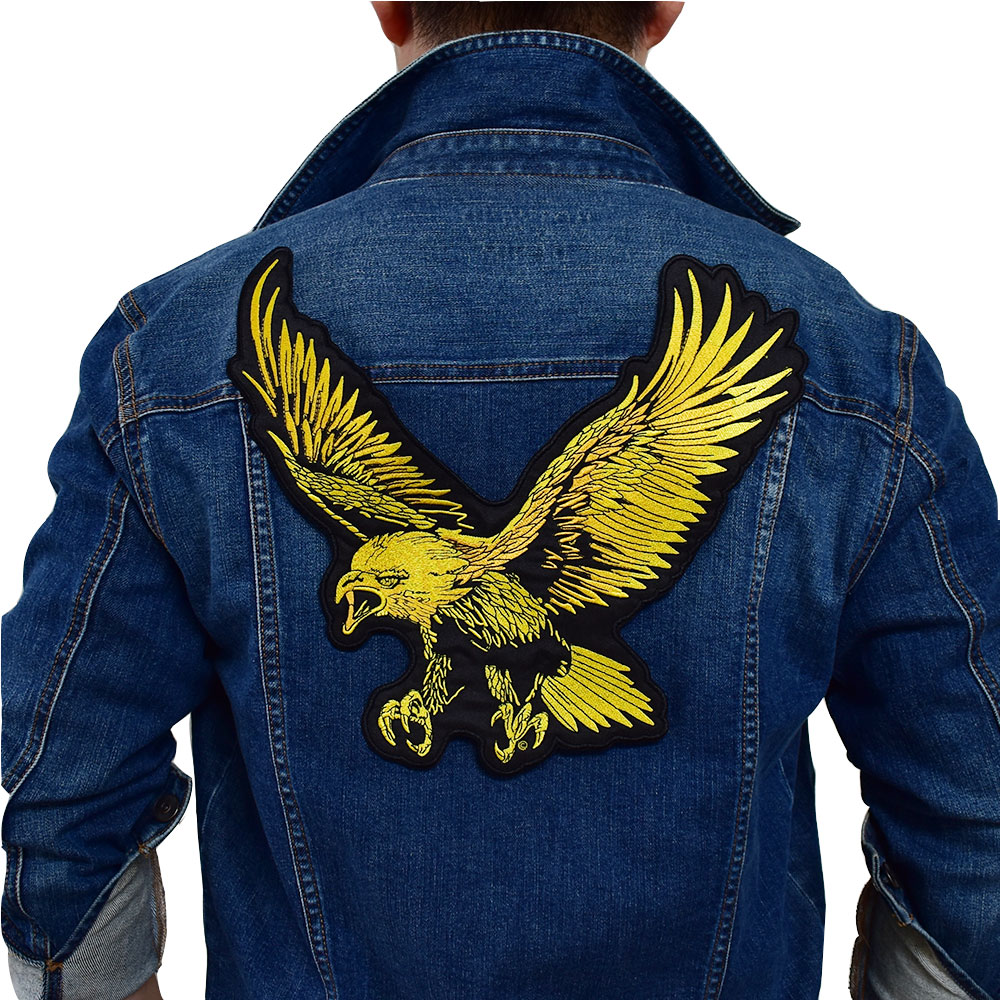 Gold Big eagle Iron On Patch Embroidered Applique Sewing Label punk biker Patches Clothes Stickers Apparel Accessories Badge