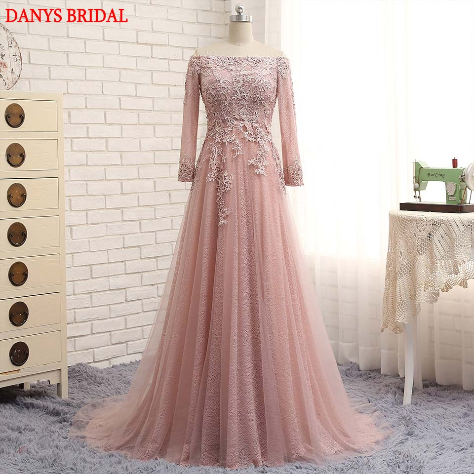 Long Sleeve Lace Evening Dresses Party Tulle A Line Off Shoulder ...