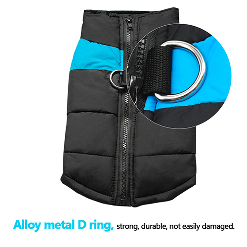 Winter Warm Dog Padded Zipper D-Ring Coat Pet Skiing Clothing for Large Dog
