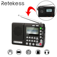 Retekess TR102 Portable Radio FM/AM/SW World Band FM Radio MP3 Player REC Recorder With Sleep Timer Black Receiver Recorder
