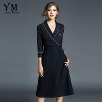 e129ce03e9744c YuooMuoo Brand Fashion Spring Women V Neck Elegant Office Dress Striped  Patchwork OL Work Dress Ladies