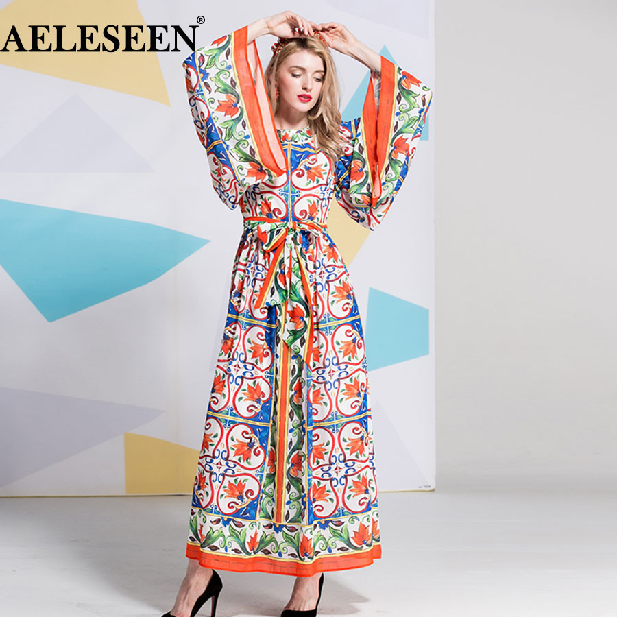 AELESEEN Women Vintage Loose Loose Dresses European Porcelain Print Fashion Patchwork Full Flare Sleeve 2018 Runway