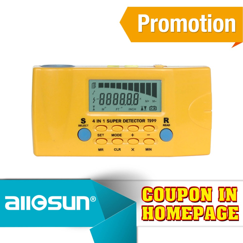 All-sun Ultrasonic Rangefinder Distance Detector Household Detector Stud/Metal/AC Voltage/Distance Laser detector 4in1 TS99  цены