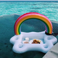 2018 New Summer Party Toys Inflatable Rainbow Cloud Swimming Pool Float Cup Holder Beer Drink Table Bar Tray Beach Accessories