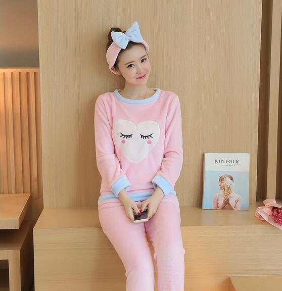 Flannel Pyjamas Women Winter Pajamas For Women Long Sleeve Cartoon Printed Sleepwear  Pajama Sets Cute Home 064d82c01