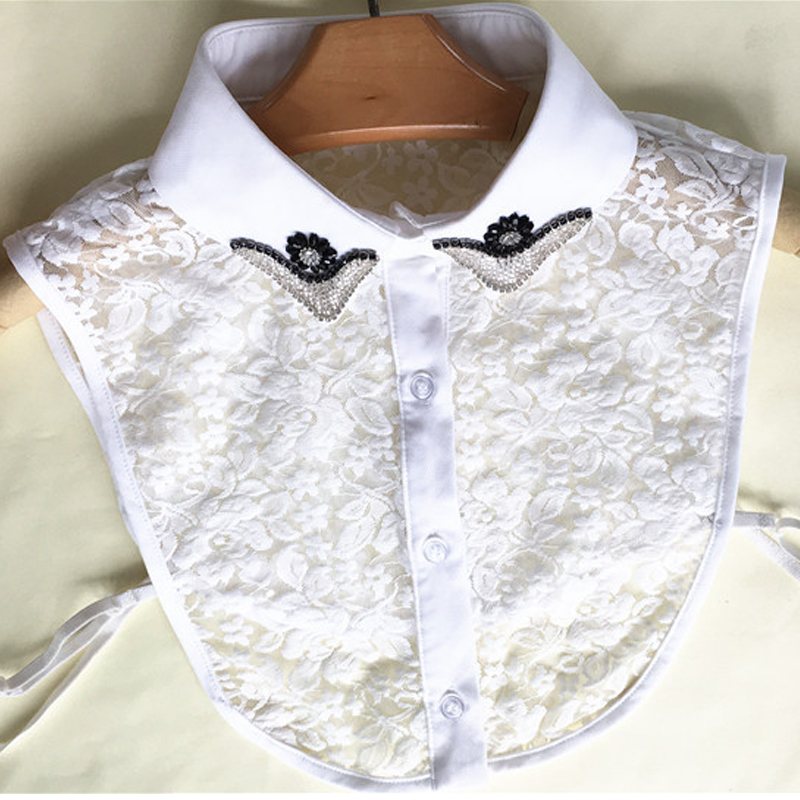 Korean Shirt Ethnic Style Fake Fashion Five-star Flower Warm Chiffon Pointed Half-shirt Beautiful Pink Aquatic Lace Bead Collar