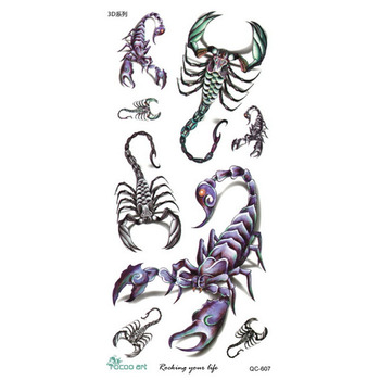 Beautiful sexy waterproof temporary tattoos for women and men 3D scorpion design large arm tattoo sticker QC2607 1
