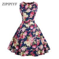 ZIPIPIYF Dres D'été Plus La Taille 2017 Vintage Imprimé floral 50 s 60 s Style Robe Femmes O-cou Sans Manches Clubwear formelle Robe