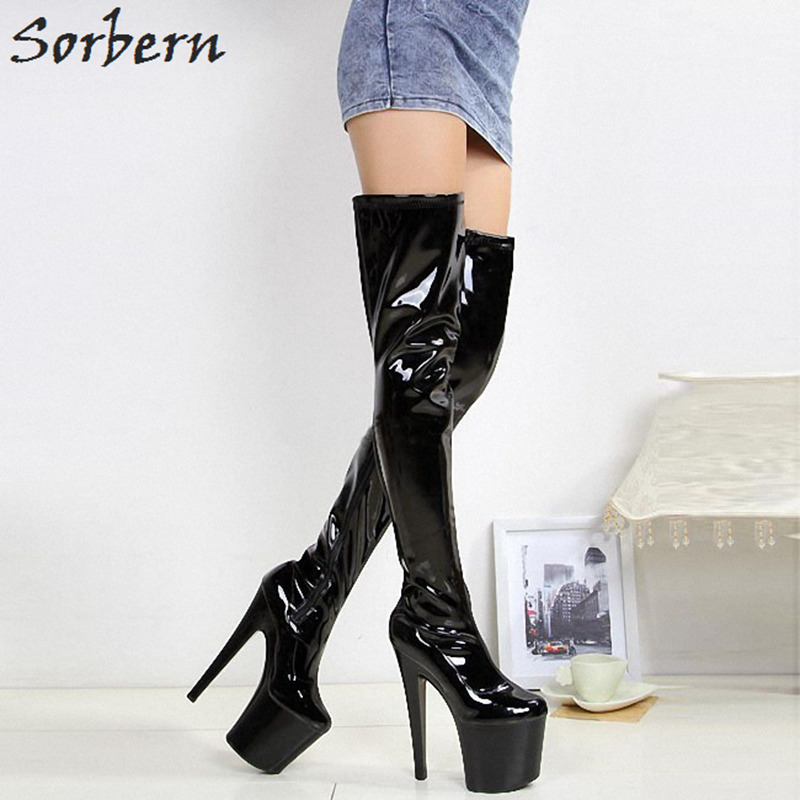 цена на Sorbern 20Cm High Heels 10Cm Platform Shoes Women Boots Thigh High Cute Boots Over Knee Boots Womens Women Shoes Size 35