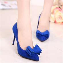 Free shipping 2016 summer newest Europe and America women's fashion bow heels fine with singles shoes pointed scrub pumps