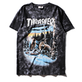 High quality Snow wolves printing male cotton summer hiphop T-shirt thrasher fashion men/women hip hop pop T shirt