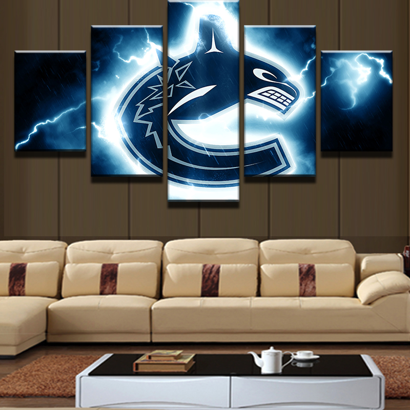 Z043 5 Pieces Set Vancouver Canucks Canvas Print Free Shipping