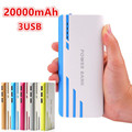Colorful 20000mAh Power Bank External Battery Pack Led light 3USB For Universal iPhone Samsung Smartphone Tablet Gift New Hot