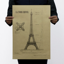 París Torre Eiffel estructura papel Kraft clásico película clásica cartel mapa decoración del hogar pared para Oficina Decoración arte Retro impresiones escolares
