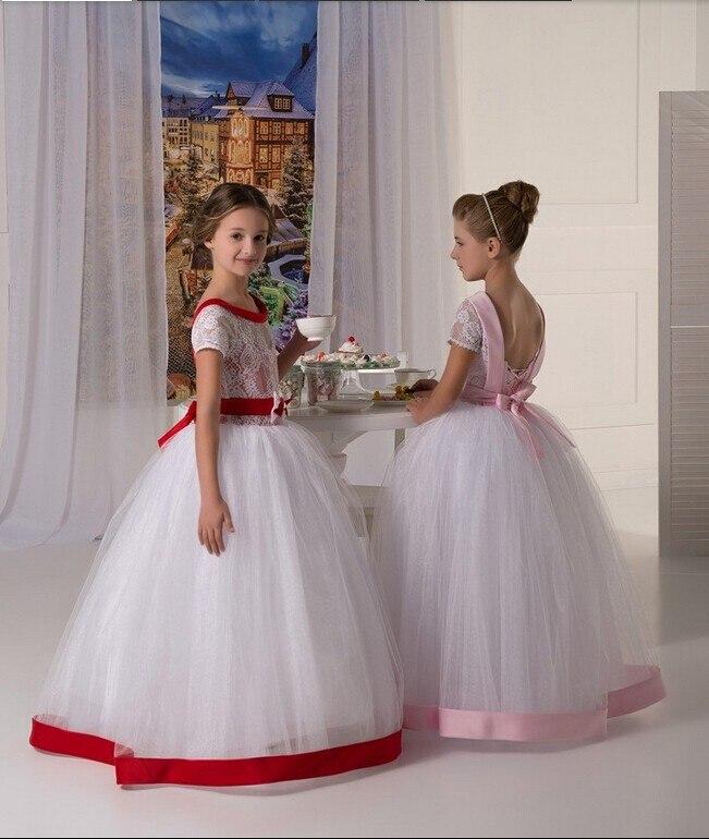 White Pure 2018 Flower Girl Dress Scoop A-Line Floor-Length Tulle ...