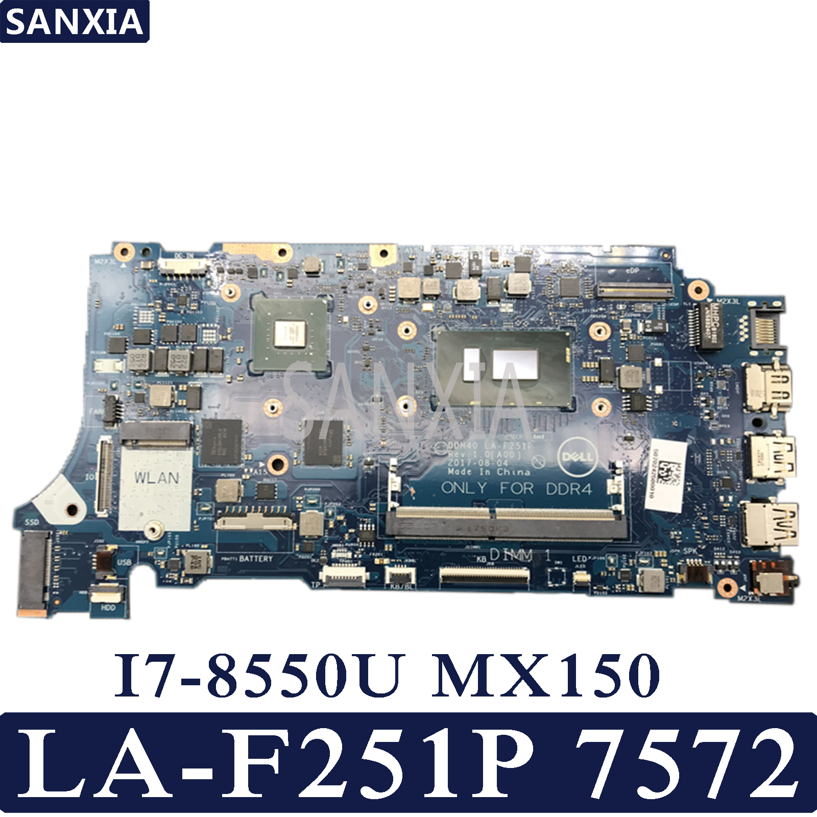 KEFU DDH40 LA-F251P <font><b>Laptop</b></font> motherboard for Dell Inspiron 7572 7472 Test original mainboard I7-8550U <font><b>MX150</b></font> image