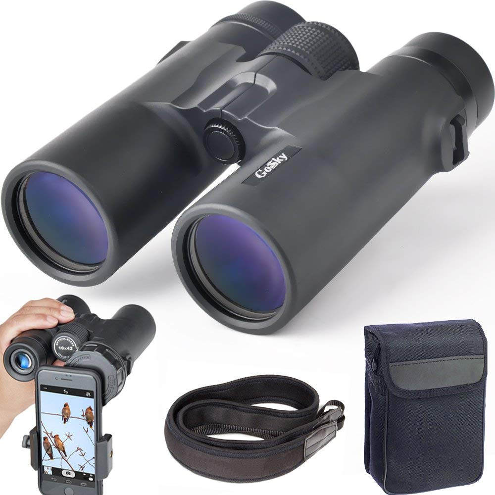 10x42 Roof Prism Binoculars For Adults, HD Professional Binoculars For Bird Watching Travel Stargazing Hunting Concerts Strap
