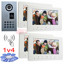 RFID video door phone intercom for 4 apartments code unlock waterproof ip65 ccd camera night vision 7″ color indoor monitor