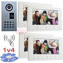 Buy online RFID video door phone intercom for 4 apartments code unlock waterproof ip65 ccd camera night vision 7″ color indoor monitor