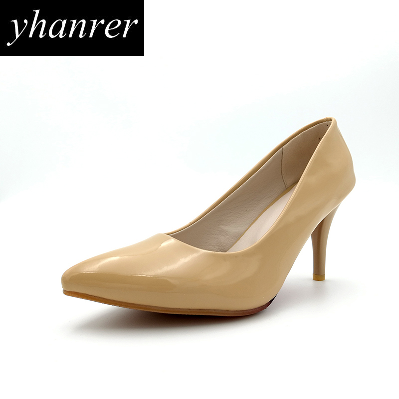New Women High Heels Nude Pumps Thin Heels Pointed Toe Ladies Wedding Shoes Stilettos Heeled 8cm Plus size 34-43 Y135 2017 new spring summer shoes for women high heeled wedding pointed toe fashion women s pumps ladies zapatos mujer high heels 9cm