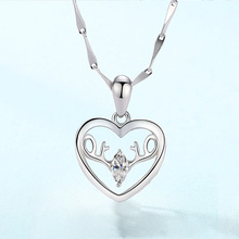 Fashion Pendant Necklace for Women Personality Creative Antler Love Heart Simple Jewelry Gift