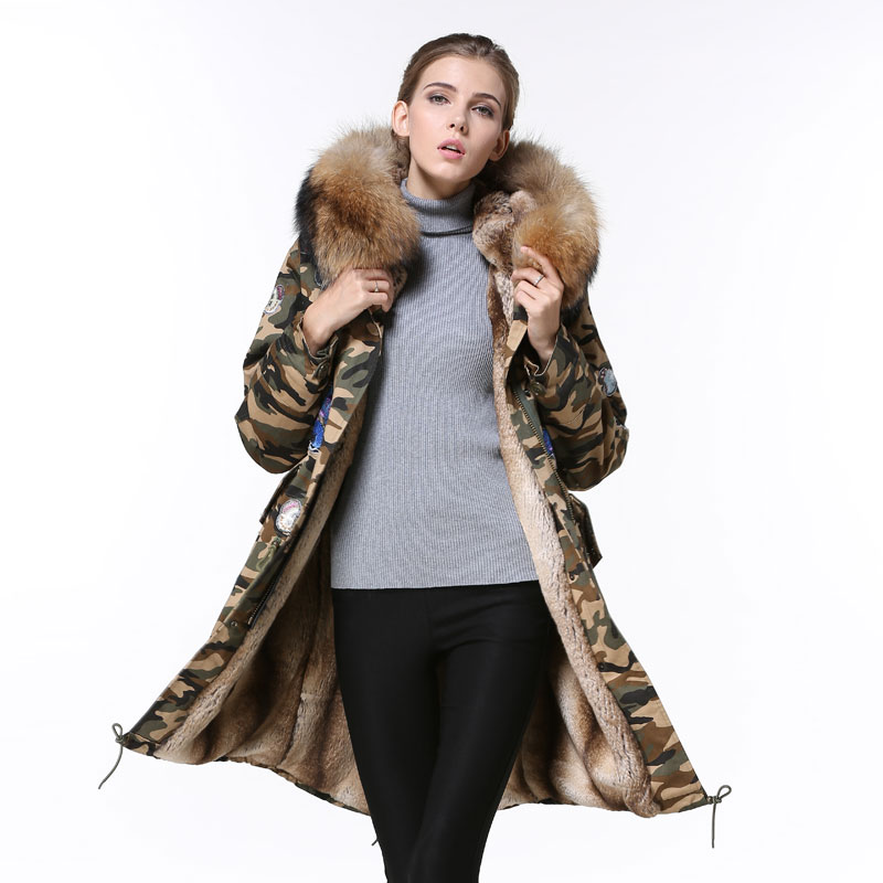 Luxury Camouflage Butterfly badge Raccoon fur collar parka jacket women Natural color fur jacket