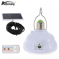 Albinaly Remote Control 24 LED Solar Light E27 Portable Tent Camping Light Solar Emergency Security Lamp