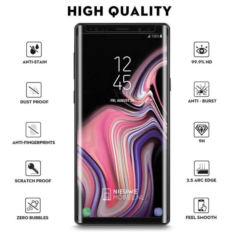 6D Full Curved Edge Tempered Glass Case For Samsung Galaxy Note 9 8 Screen Protect Film Cover For Samsung S9 S8 Plus S6 S7 Edge