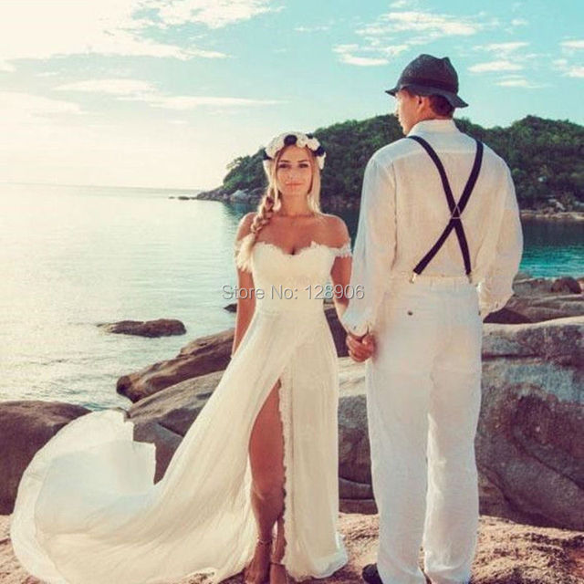 2016 summer beach wedding dresses vintage sexy off the for Vintage summer wedding dresses