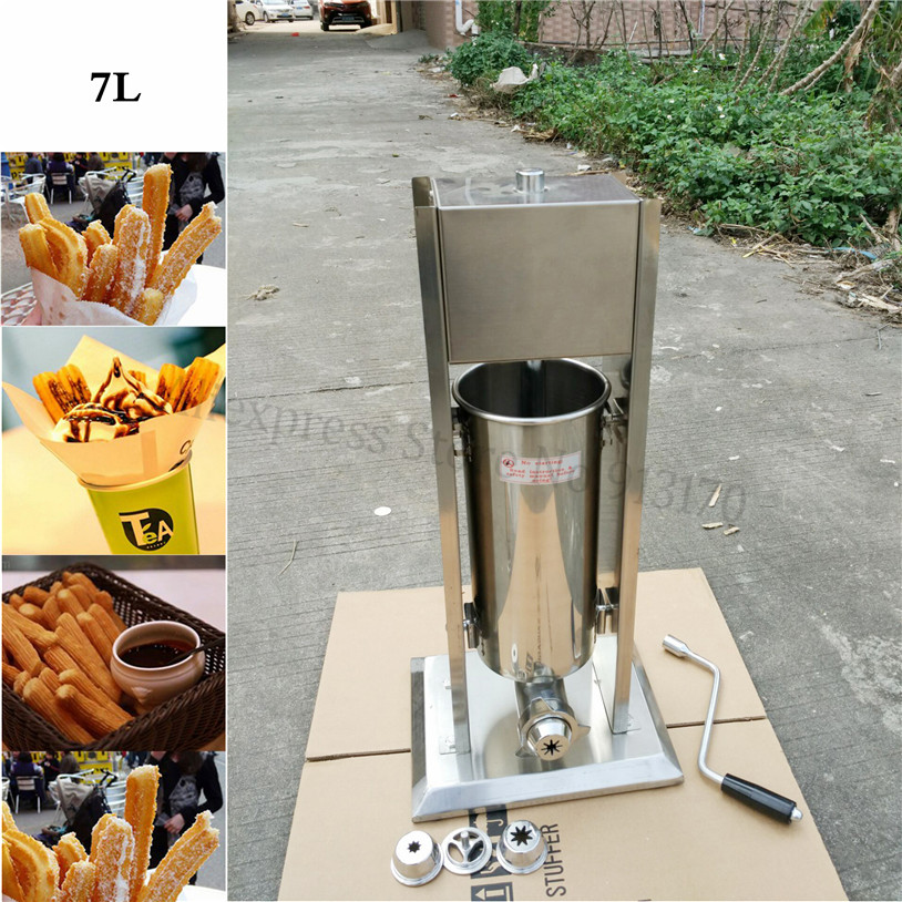 7L Commercial Stainless Steel Vertical Sausage Stuffer Meat Sausage Filling Machine Spanish Churros Making Machinery