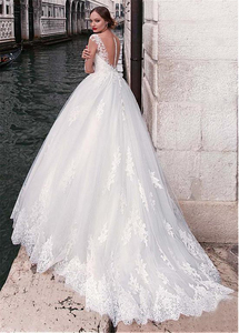 Image 2 - Chic Tulle Jewel Neckline A line Wedding Dress With Lace Appliques 3/4 Sleeves Bridal Gowns Illusion Back robe de mariee