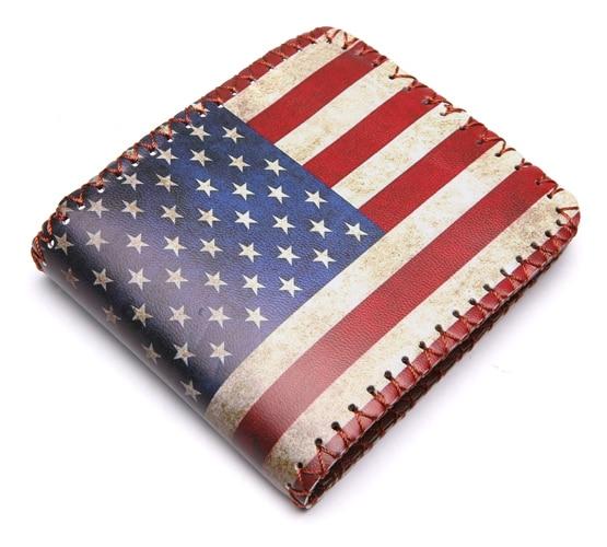Vintage Brand UK US Flag Magic Wallet Short Purse Fold Dollar Price Money Clip Men Personalised Wallets Purse Carteira Feminina