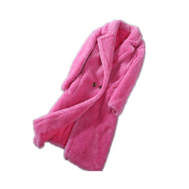 Nouveau Ours Veste 2018 Xlong Fourrure Moutons Cheveux black Lâche Réel Importés Peluche Femme Manteau pink Hiver Agneau red Beige Cisaillé Femmes Automne khaki En wfwpatEx