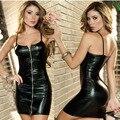 Lady Spaghetti Strap Vestido Sexy Latex Catsuit Bodysuit Falso Couro Clubwear