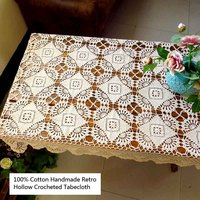Retro 100% Cotton Handmade Crocheted Plant Hollow Tablecloths Washable Wear Resistant Decoration Cloth Covers for Everyday Use