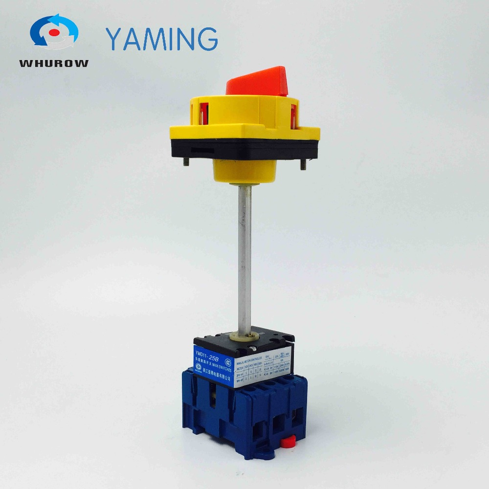 YMD11-25B red yellow pad-lock with extension arm isolator switch 3 phase on-off rotary switch CE certificate