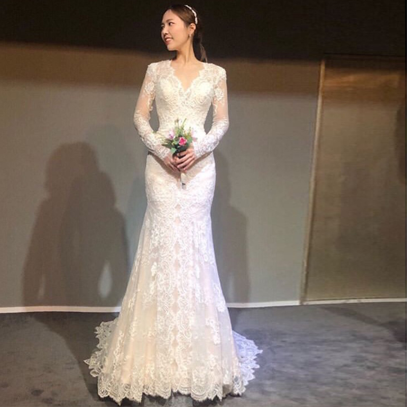 Elegant Korea Wedding Dress With Long Sleeves V-neck Mermaid Style Romantic Lace Bridal Dress Robe De Mariée Sweep Train