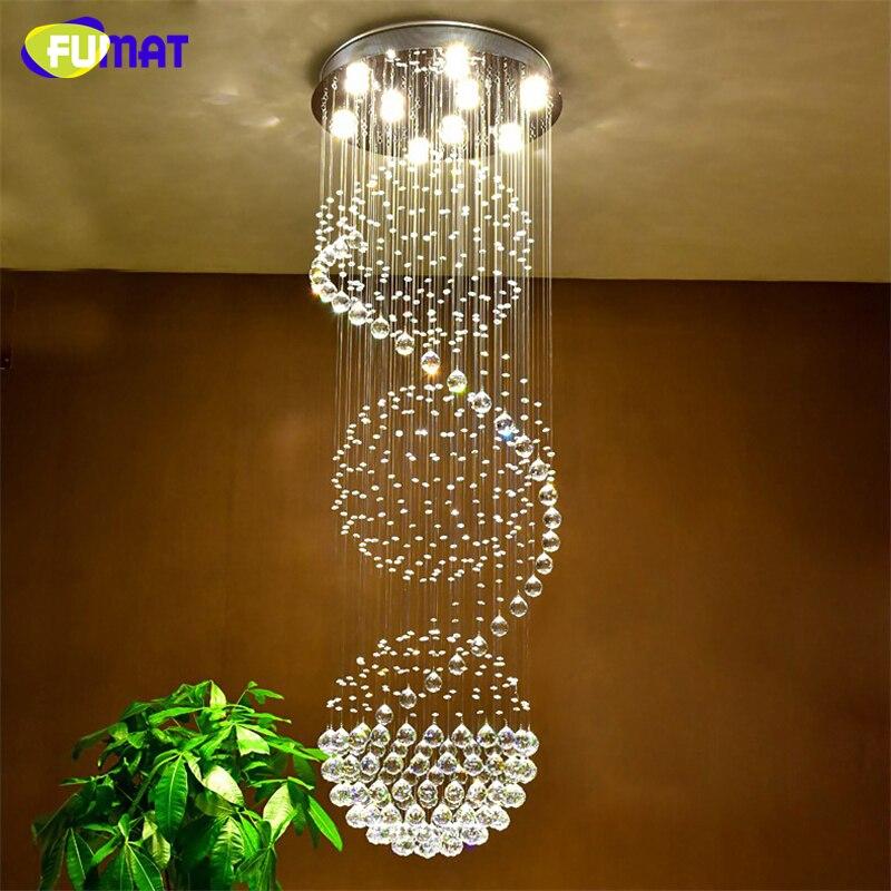 FUMAT K9 lustres en cristal Villa salon grand Lustre lampe escaliers Lustre Suspension lumière Led Lustre en cristal