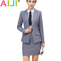 Autumn Winter Women Work Wear Skirt Suit Set Long Sleeve Slim Formal Blazer With Pants OL